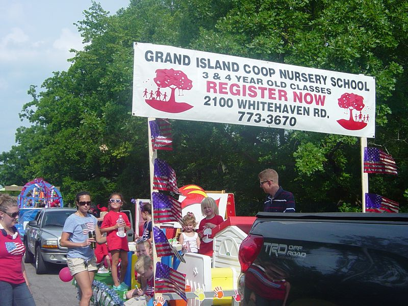 Children From The Grand Island Cooperative Nursery School Recently Enjoyed Paring In 4th Of July Parade Will Be Hosting Camp
